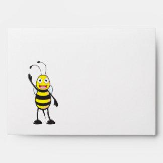 Cute Yellow Happy Smiling Bee Waving Hand Hi Hello Envelope
