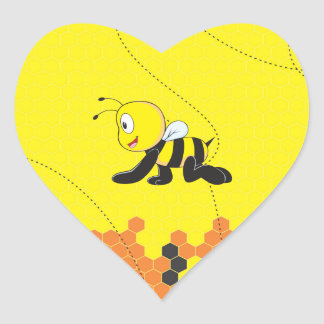 Cute Yellow Happy Smiling Crawling Baby Bee Heart Sticker