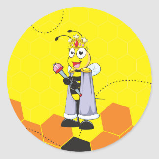 Cute Yellow Happy Smiling Quen Bee Crown Scepter Classic Round Sticker