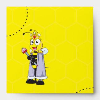 Cute Yellow Happy Smiling Quen Bee Crown Scepter Envelope