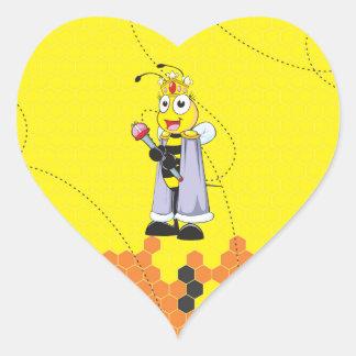 Cute Yellow Happy Smiling Quen Bee Crown Scepter Heart Sticker