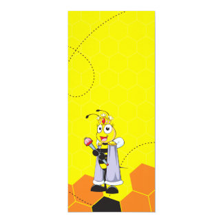 Cute Yellow Happy Smiling Quen Bee Crown Scepter 4x9.25 Paper Invitation Card