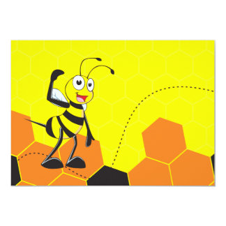 Cute Yellow Happy Smiling Quen Bee Crown Scepter 5x7 Paper Invitation Card