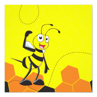 Cute Yellow Happy Smiling Quen Bee Crown Scepter 5.25x5.25 Square Paper Invitation Card