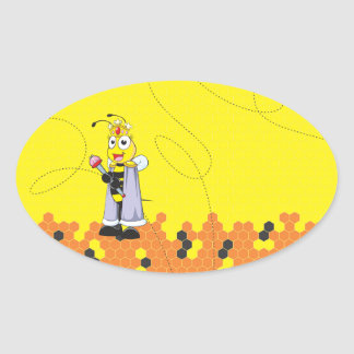 Cute Yellow Happy Smiling Quen Bee Crown Scepter Oval Sticker