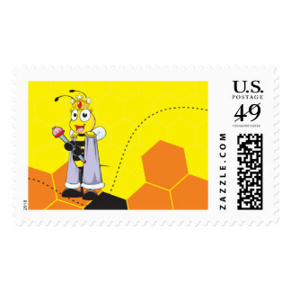 Cute Yellow Happy Smiling Quen Bee Crown Scepter Postage Stamps