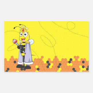 Cute Yellow Happy Smiling Quen Bee Crown Scepter Rectangular Sticker