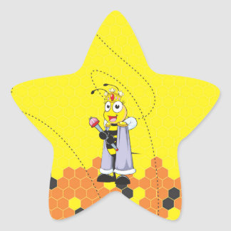 Cute Yellow Happy Smiling Quen Bee Crown Scepter Star Sticker