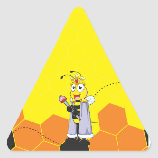 Cute Yellow Happy Smiling Quen Bee Crown Scepter Triangle Sticker