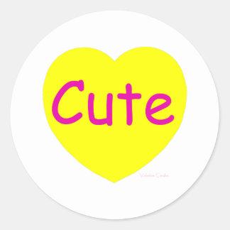Cute Yellow Heart Classic Round Sticker