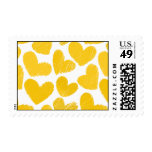 Cute yellow Hearts Postage