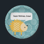 """Cute Yellow Hedgehog Personalized Party Plates<br><div class=""""desc"""">This cute woodland animal party paper plate is perfect for a children&#39;s birthday party or other special events. This design features a cute yellow hedgehog against a blue patterned background. This coordinates with other items in our Woodland Whimsy collection. Use the fill-in-the-blank field to add your own text to the...</div>"""