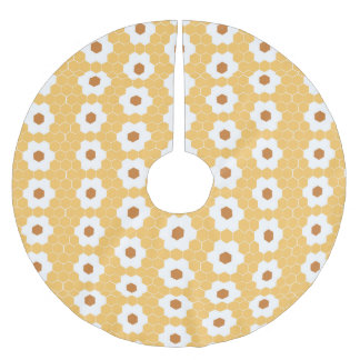 Cute Yellow Hexagon Trendy Pattern Brushed Polyester Tree Skirt