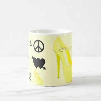 Cute Yellow High Heel Peace Love Shoes Coffee Mug