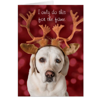 Cute Yellow Lab dog with Antlers Card