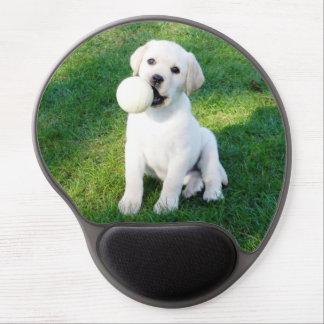 Cute Yellow Lab pup with ball Gel Mouse Pad