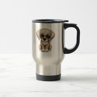 Cute Yellow Lab Puppy Dog with Reading Glasses Travel Mug