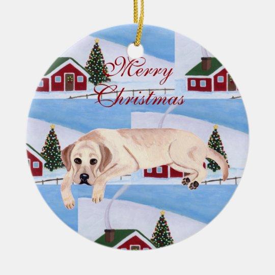 Cute Yellow Labrador Christmas Ceramic Ornament