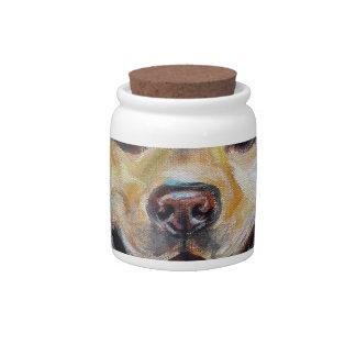 Cute Yellow Labrador Happy Candy Jar