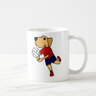 Cute Yellow Labrador Retriever Playing Volleyball Coffee Mug