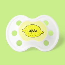 Cute yellow lemon pacifier with baby name