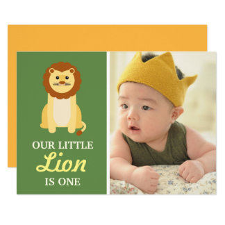 Cute Yellow Lion Baby Boy 1st First Birthday Party Card
