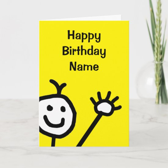 Cute Yellow Little Smiling Face Waving Birthday Card