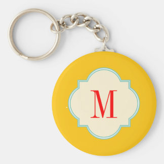 Cute yellow monogram keychain
