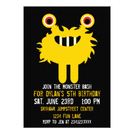 Cute Yellow Monster Birthday Party Invitations