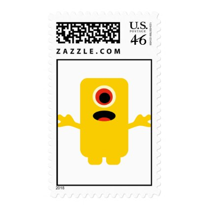 Cute Yellow Monster Birthday Party Postage Stamps