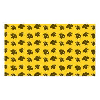 Cute yellow mushroom pattern business card templates