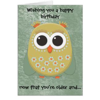 Cute Yellow Orange Green Owl Birthday Card