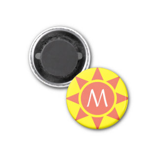 Cute Yellow & Orange Sun Shine Initialed Monogram Magnet
