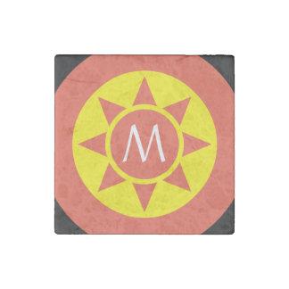 Cute Yellow & Orange Sun Shine Initialed Monogram Stone Magnet
