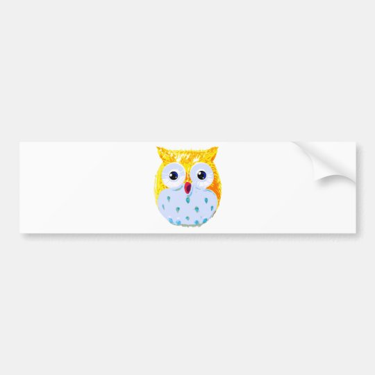 Cute Yellow Owl Bumper Sticker