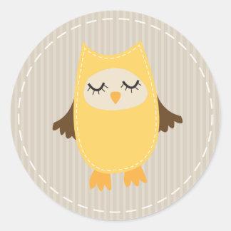 Cute Yellow Owl Classic Round Sticker