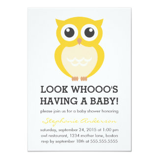 Cute Yellow Owl Neutral Baby Shower Invitations