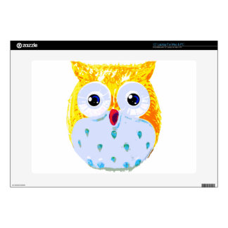 """Cute Yellow Owl Skins For 15"""" Laptops"""