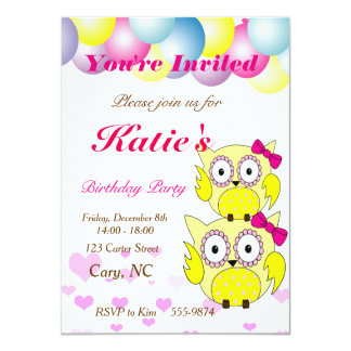Cute yellow owl with pink bow card