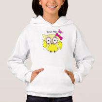 Cute yellow owl with pink bow hoodie