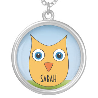 """Cute yellow Owl - """"Your Name"""" Round Pendant Necklace"""