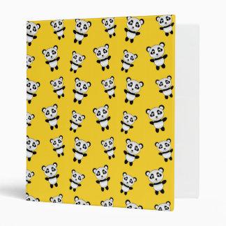 Cute yellow panda pattern vinyl binder