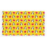 Cute yellow penguin hearts pattern business cards