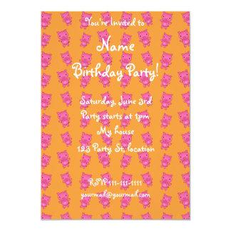 Cute yellow pig pattern 5x7 paper invitation card