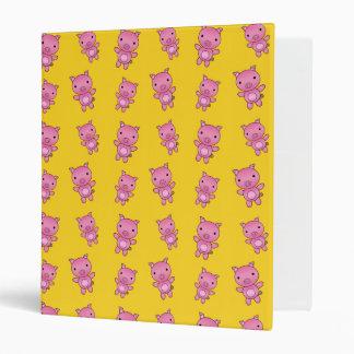 Cute yellow pig pattern vinyl binders