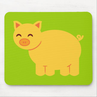 Cute Yellow Piggy Mouse Pad