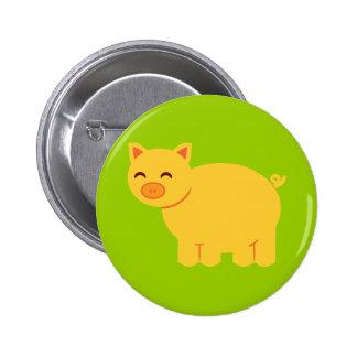 Cute Yellow Piggy Pinback Button
