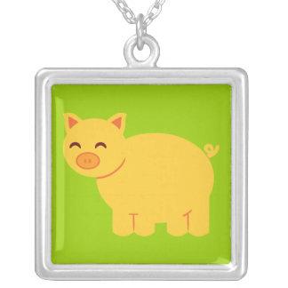 Cute Yellow Piggy Square Pendant Necklace