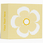 Cute Yellow Plaid Flower On Polka Dot Binders.