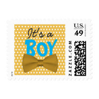 Cute Yellow Polka Dots Boy Bow Tie Baby Shower Stamp